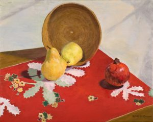 Fruit on a Red Scarf